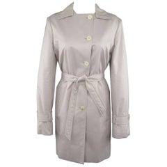 LORO PIANA Size 12 Light Lavender Pink Cotton / Silk Trenchcoat