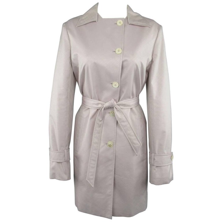 LORO PIANA Size 12 Light Lavender Pink Cotton / Silk Trenchcoat