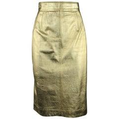 Vintage ESCADA Size 8 Metallic Gold Leather Pencil Skirt