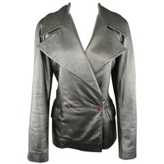 RALPH LAUREN Collection 10 Metallic Silver Leather Double Breasted Jacket