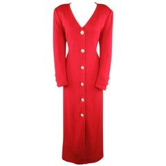 Vintage ST. JOHN Evening Size 10 Red Wool Knit Rhinestone Button Cardigan Coat