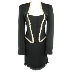 MOSCHINO Cheap & Chic Size 12 Black Wool Skirt Ruffle French Maid Suit