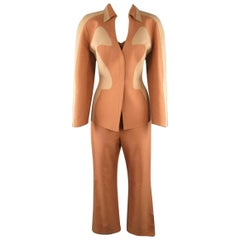 THIERRY MUGLER COUTURE 1980s Size 14 Tan & Beige Cotton 3 pc Pants Suit