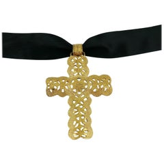 Yves Saint Laurent YSL Vintage Rare Gold Toned Massive Cross Pendant