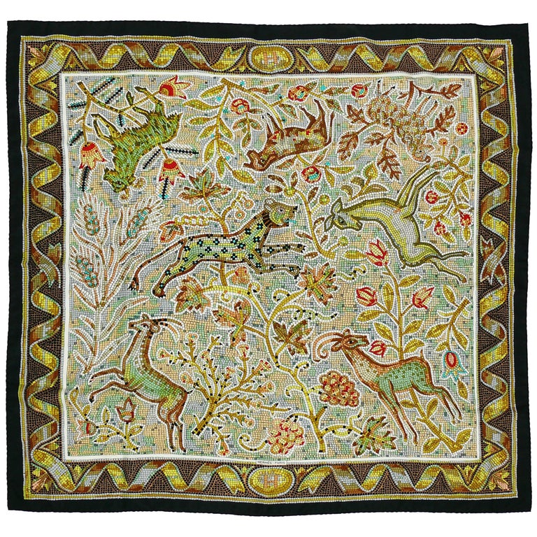 "Hermès Rare Silk Carre Scarf ""Pavement"" by Maurice Tranchant For Sale"