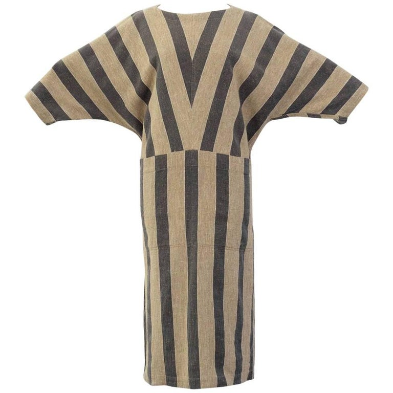 Issey Miyake Plantation Khaki Striped Woven Dress, Circa 1980's For Sale
