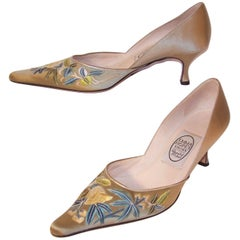 Emma Hope Embroidered Satin Kitten Heel Shoes Sz 38 1/2