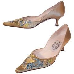 Emma Hope Embroidered Satin Kitten Heel Shoes Sz 38 1/2
