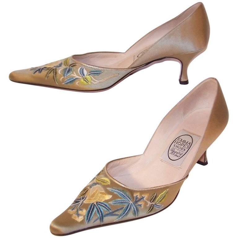 Emma Hope Embroidered Satin Kitten Heel Shoes Sz 38 1/2 1