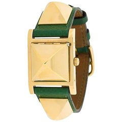 1990 Green Calf Leather Hermes Medor Analog Watch