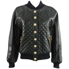 Balmain Black Lambskin Leather Quilted Bomber Jacket