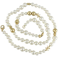 Chanel 07P Pearl and Gold bead Necklace with CC Logo 17""