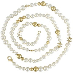 """Chanel 07P Pearl and Gold bead Necklace with CC Logo 22"""""""