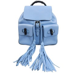 Gucci Blue Leather Backpack with Bamboo Handle and Tassels