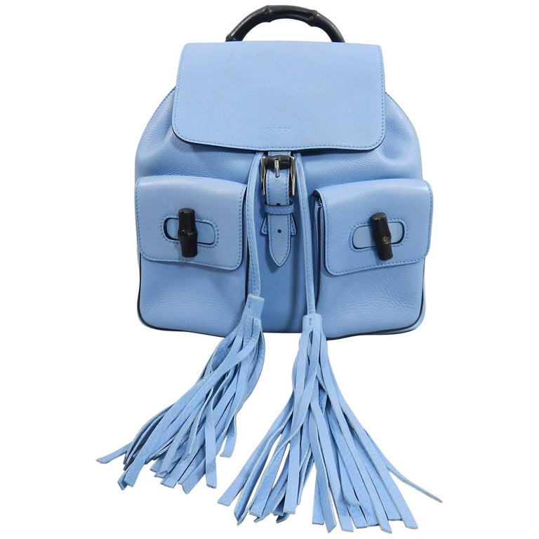 Gucci Blue Leather Backpack with Bamboo Handle and Tassels 1