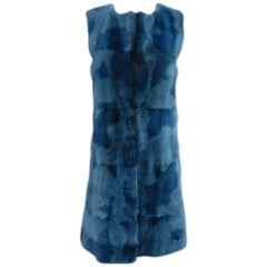 Peter Som Dyed Teal Mink Fur Runway Vest