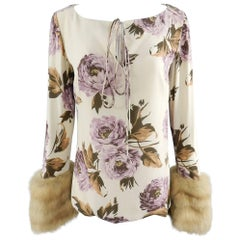 Carolina Herrera Silk Floral Blouse with Sable Fur Cuffs