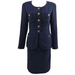 Chanel Vintage 1990's Navy Wool Skirt Suit with Gold Buttons