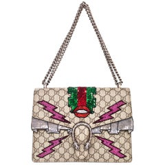 Gucci 2017 Dionysus GG Supreme Lips Embroidered Bag w/ Box & DB