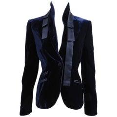 Gucci Midnight Navy Blue Velvet Blazer Jacket with Sash