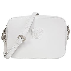 Versace White Leather Medusa Plazzo Camera Crossbody Bag w/ Extra Strap