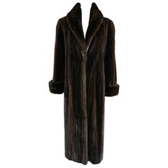 Carolina Herrera New York Dark Brown Mink Long Fur Coat
