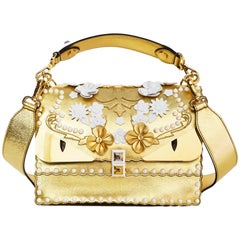 Fendi 2017 Gold & White Kan I Floral Monster Satchel Bag rt. $5,950