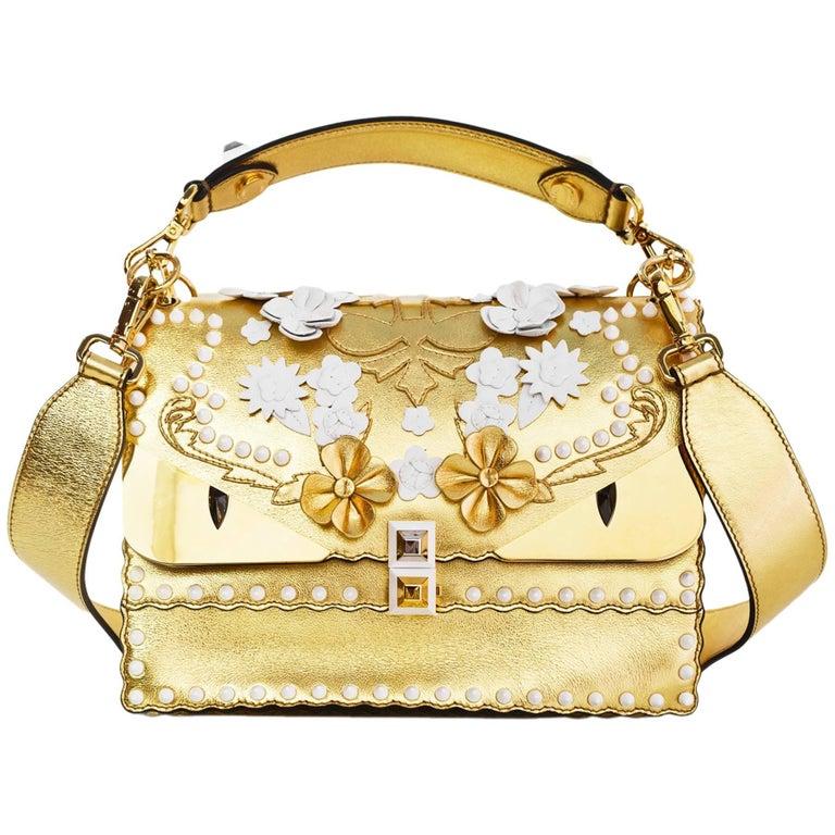 Fendi 2017 Gold & White Kan I Floral Monster Satchel Bag rt. $5,950 For Sale
