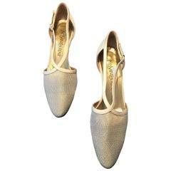 YSL 1980s Metallic Mesh Low Heel Shoe Size 7.5M Never Worn.