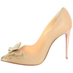 Christian Louboutin NEW Nude Maripopump 100 Butterfly Point Toe Pump Sz 39.5