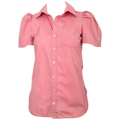 Balenciaga Pink Cotton Short Sleeve Blouse Size 4.