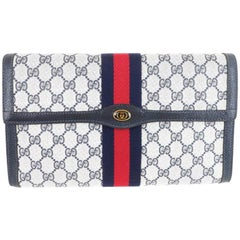Gucci Vintage Web Supreme GG Blue Red Stripe Monogram Large Evening Clutch Bag