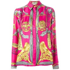 Pink Hermes Baroque Silk Print Shirt