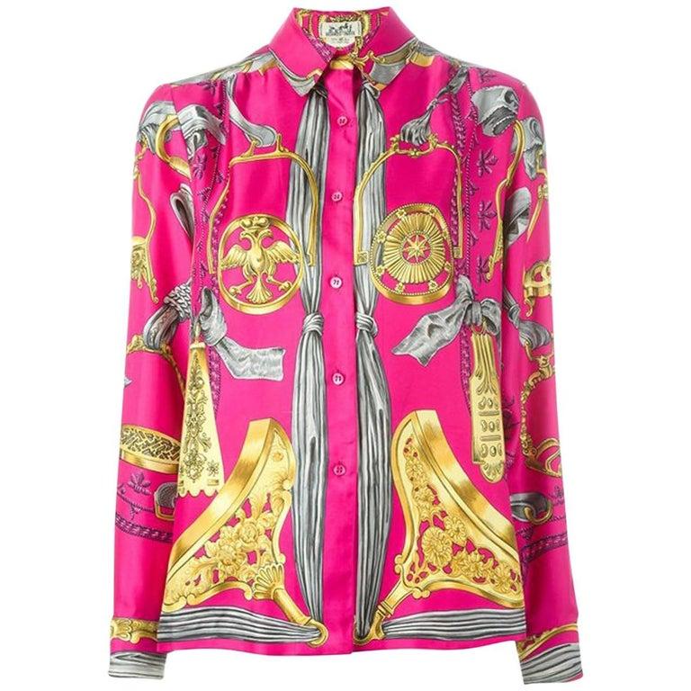 Pink Hermes Baroque Silk Print Shirt 1