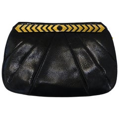 1980s Judith Leiber Black Snakeskin Evening Bag