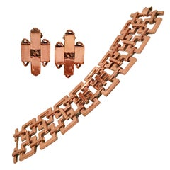50'S Modernist Copper Geometric Chain Link Bracelet & Earrings S/3 By Matisse