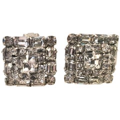 Mid-Century Pair Of Art Deco Silver & Austrian Crystal Rhinestone Earrings