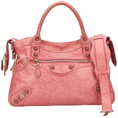 Balenciaga Pink Leather Giant Town