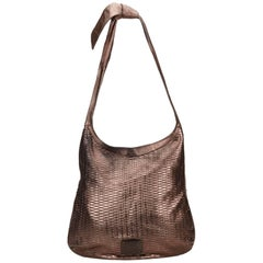Jimmy Choo Brown Woven Metallic Leather Shoulder Bag