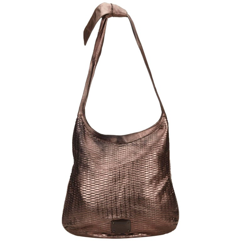 Jimmy Choo Brown Woven Metallic Leather Shoulder Bag 1