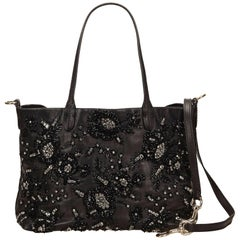 Valentino Black Leather Beaded Tote Bag