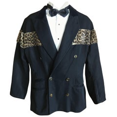 Jean Paul Gaultier 1980's Men Faux Leopard and Velvet Trim Jacket