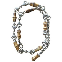 Gucci 1960's Bamboo Horsebit Silvertone Belt
