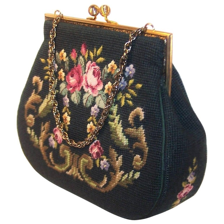 1950's Green Needlepoint Handbag With Floral Motif & Chain Handle