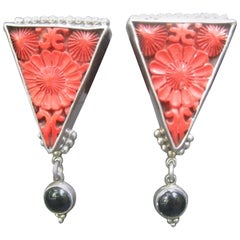 Exotic Carved Coral & Jet Sterling Artisan Earrings
