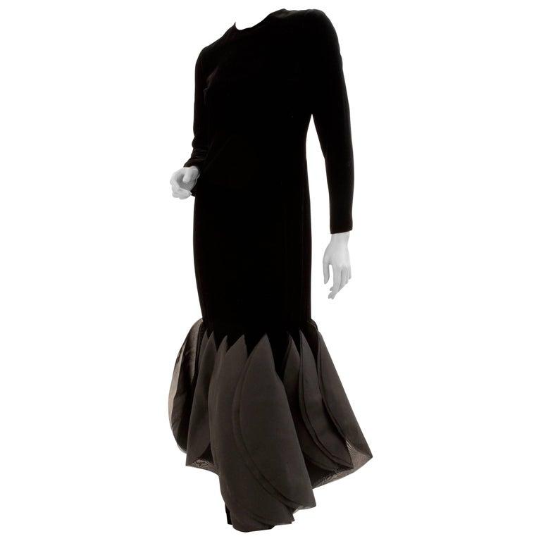 Pierre Cardin Rocket Gown Black Velvet Evening Dress Space Age & Futurism 60s M