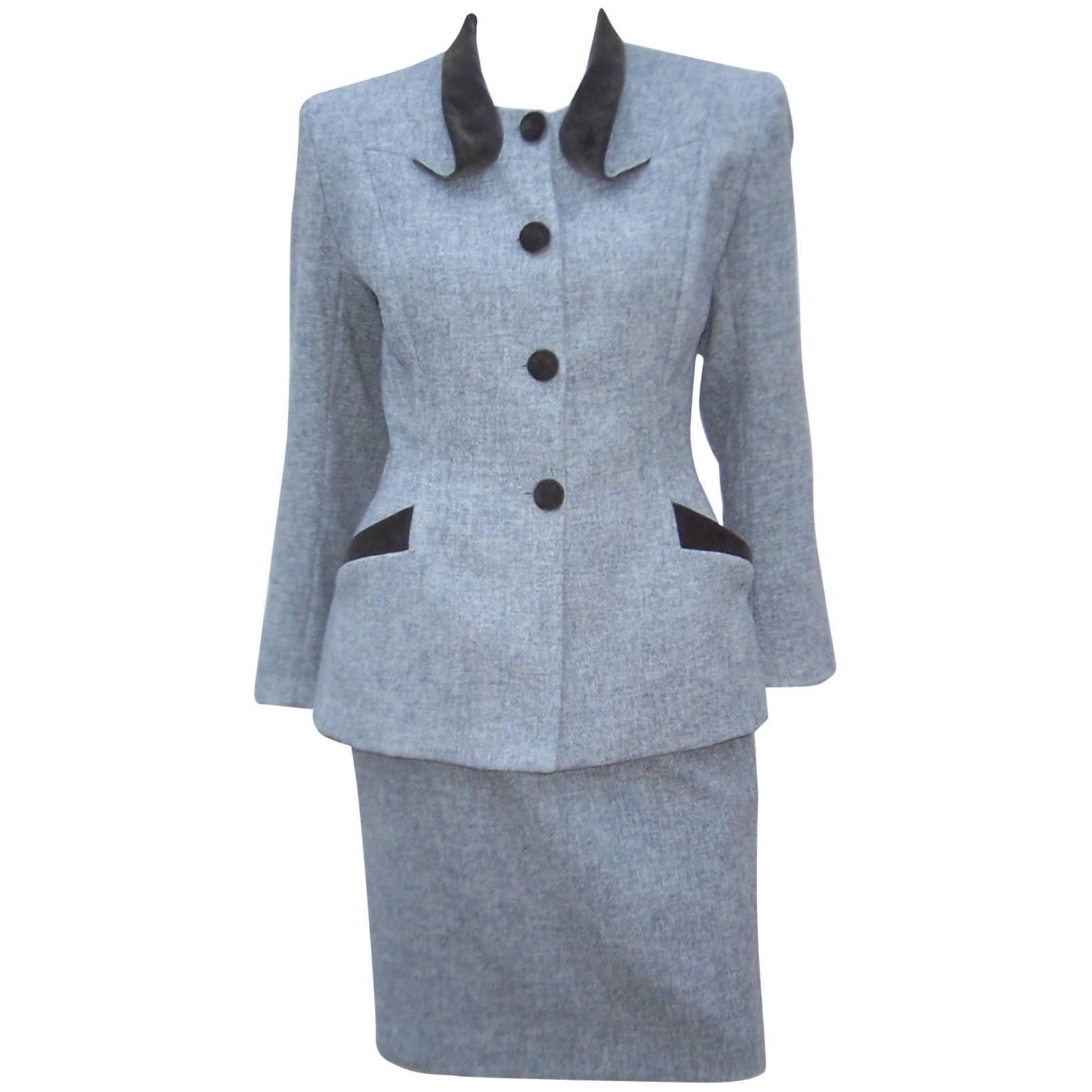 1940's Inspired Emmanuelle Khanh Gray Wool & Velvet Skirt Suit