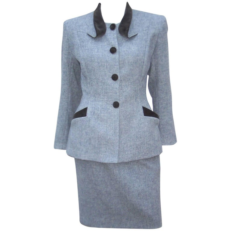 1940's Inspired Emmanuelle Khanh Gray Wool & Velvet Skirt Suit