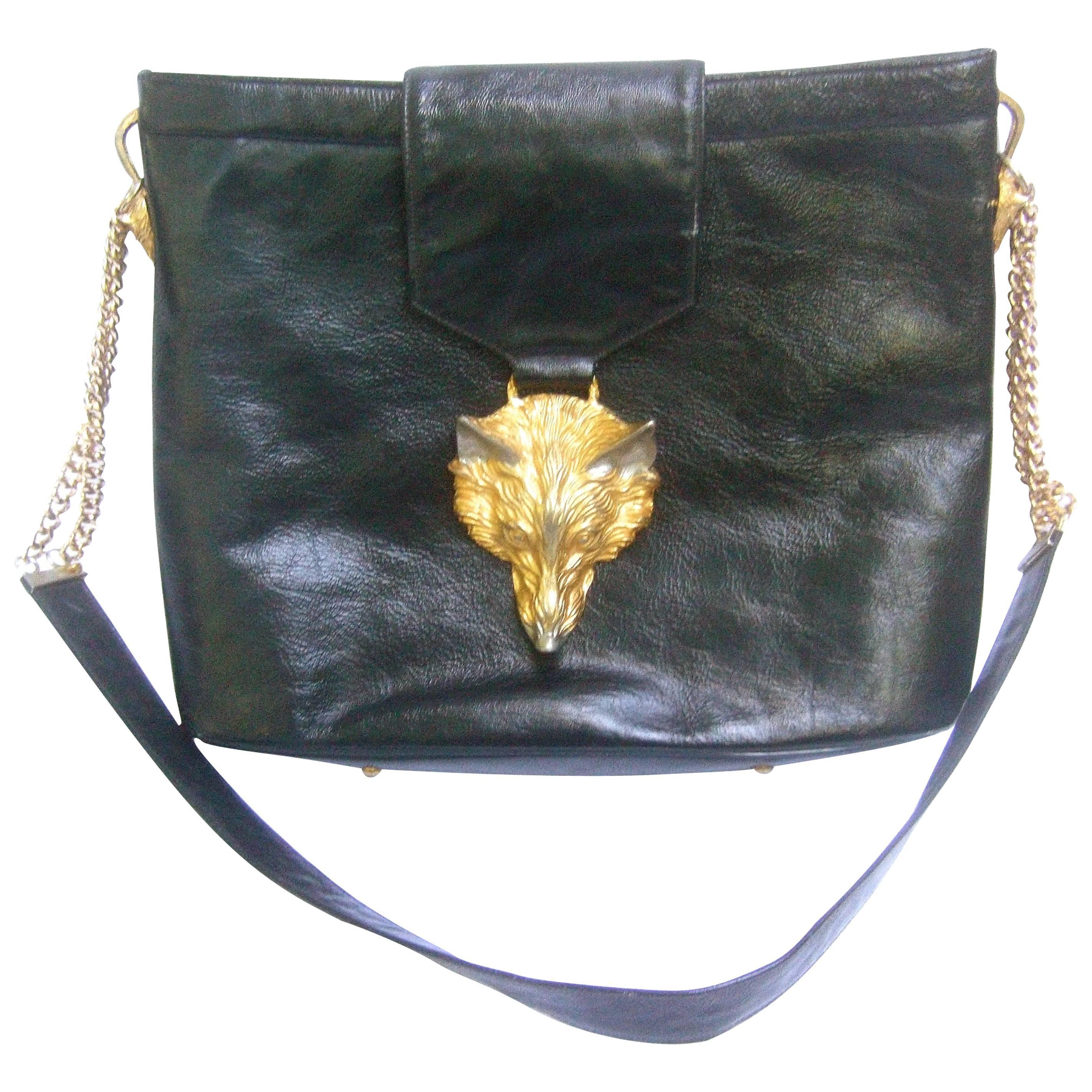 Avant Garde Fox Emblem Black Leather Handbag Designed by Harry Rosenfeld c 1970s
