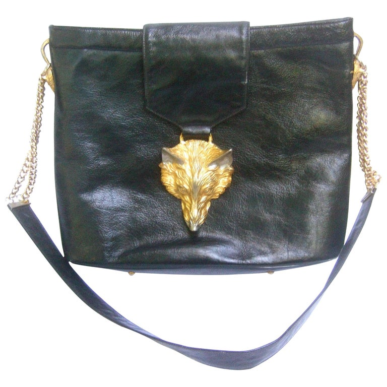 Avant Garde Fox Emblem Black Leather Handbag Designed by Harry Rosenfeld c 1970s